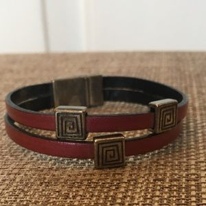 Jewelry - Pink Leather Bracelet w Magnetic Clasp, 7 inches